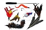 Katzenspielzeug Set Premium mit Maus, Katzenangel mit Natur-Federn, Angel extra lang & Interaktiv =...