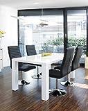 Ess-Tisch weiß Hochglanz aus MDF 200x100cm recht-eckig   Luca   Moderner Küchen-Tisch aus MDF-Holz...
