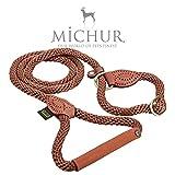 Michur Sherpa Hundeleine Brown Sugar Führleine rund gewebt aus Nylon Tau mit robustem Leder...