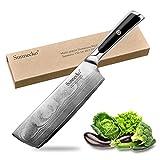 Sunnecko Hackmesser Chinesisches Kochmesser 7 inch/7zoll Küchenmesser Damastmesser Damaststahl...