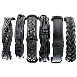 Herren Armband Set Lederarmbänder Geflochten Seil Armreifen aus Leder Größe Verstellbar 3 Stück...