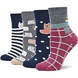 4 Paar Damen Thermo-Socken Baumwolle Frottee Innen Winter Socken Atmungsaktive Warm Weich Bunte für...