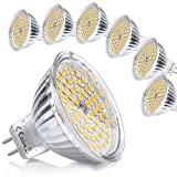 Liqoo 6er GU5.3 LED Warmweiß MR16 12V 5W Ersatz für 35W Halogen Lampen GU5.3 2800K 400 Lumen Birne...