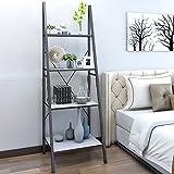 Lifewit Standregal Bücherregal Leiterregal mit 4 Ablageflächen aus Holz und metall im Wohnzimmer...