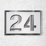 Hausnummer aus Edelstahl und Acrylglas weiß satiniert. Bis zu drei Ziffern oder Buchstaben....