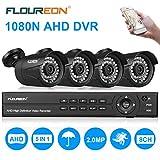 FLOUREON Videoüberwachung 8CH AHD 1080N ONVIF DVR Recorder + 4x 3000TVL 2.0MP 1080P...