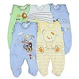 TupTam Unisex Baby Strampler mit Aufdruck Baumwolle 5er Set, Farbe: Junge, Größe: 74