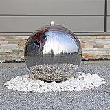 Luxus Edelstahl Springbrunnen ESB5 poliert mit 48cm großer Edelstahlkugel Kugel Brunnen für Garten...