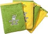 Kinderbutt Waschhandschuh 4er-Pack mit Stickerei Zebra 2x Frottier apfelgrün Größe 15x21 cm