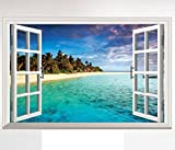 HALLOBO® XXL Wandaufkleber Fenster Mittelmeer Meer Strand Urlaub Wandsticker Bild Wantattoo Wall...