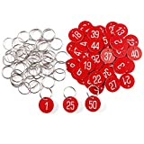 1-50 Kennzeichnungsmarken Textmarken Zahlenmarken Schlüsselmarken mit Schlüsselringe