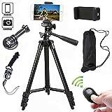 Kamera Stativ 102cm Aluminium Smartphone Stativ mit Handy Halterung und Bluetooth Fernbedienung...