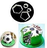 HENGSONG 4 Stück Kunststoff DIY Fußball Ausstecher Ausstechformen Keks Muffin Form Tortendeko...