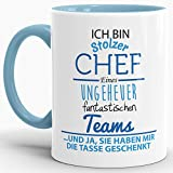 Tasse mit Spruch 'Chef' Innen und Henkel Blau - Kaffeetasse / Mug / Cup - Qualität Made in Germany