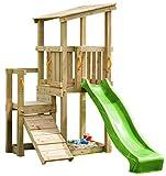 Blue Rabbit 2.0 Spielturm CASCADE mit Rutsche 2,30 m + Kletterrampe Spielhaus Kletterturm Spielplatz...
