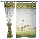TupTam Kinderzimmer Vorhänge 2er Set mit Schleifen 155x95cm , Farbe: Eulen Grün, Größe: ca....