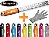 Microplane Premium Classic Zester Reibe fein schwarz rot gelb blau lila pink + Prymo Schutzhandschuh...