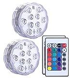 Unterwasser Licht mit Fernbedienung 2 Stücke, Alilimall RGB Multi Farbwechsel Wasserdichte LED...