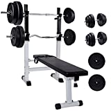 CCLIFE Multifunktion Hantelbank set mit 110kg Hantelset Trainingsbank Kraftstation Bankdrücken...
