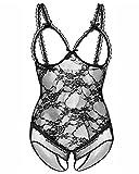 Kinsmirat Damen Große Größen Babydoll mit Bügel Spitze Lingerie Dessous Body, Schwarz (XL)
