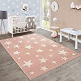 Moderner Kurzflor Kinderteppich Sternendesign Kinderzimmer Pastell Rosa Weiß, Grösse:80x150 cm