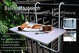 Balkontisch klappbar 60x40 cm - Balkonhängetisch in weiß - neigbar, wetterfest und bis 20 Kg...