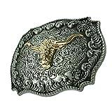 MagiDeal Cowboy Bohemia Stil Gürtelschnalle Stier Kopf Gürtel Antiq Bronze Schnalle