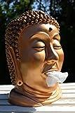 Taschentuch-Spender oder Kosmetiktuch-Spender Buddha-Kopf Bronze