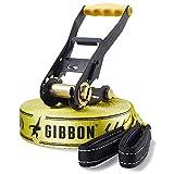 Gibbon Slacklines Classic Line mit Tree Wear, Gelb, 15 Meter, 12,5m Band + 2,5m Ratschenband,...
