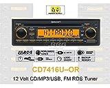 12 Volt PKW Auto Radio, RDS-Tuner, CD, MP3, WMA, USB, 12V CD7416U-OR