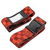 2er-Pack Premium Koffergurt 5x200cm mit Schnalle und Namensschild - hochwertiger Gepäckgurt, lange...