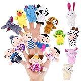 Biging 16 Stücke Finger Puppen Set einschließlich 10 Stücke Tiere + 6 Stücke People Family...