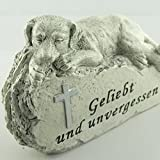 Gedenkstein Hund Geliebt und unvergessen, Grabschmuck Tiergrab. Breite 13cm. 1 Stück