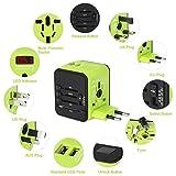Universal Adapter für 150 Länder, 4 in 1 Reisestecker Weltweit, mit Dual USB, für Australien...