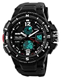 Herren Digitale Sportuhr – Outdoor analog militärisch 50M wasserdichte Uhr mit Doppelzeit LED...