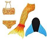 Superstar88 Meerjungfrau Badeanzug Mädchen Niedliche Meerjungfrau Kostüm 3pcs Bikini-Sets Kinder...