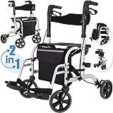 KESSER 2in1 Rollator und Rollstuhl Aluminium Set, Leichtgewicht-Reiserollator mit Vollausstattung,...