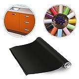 KINLO® Folie küche Schwarz 61x500cm aus hochwertigem PVC Material aufkleber für schrank tapeten...