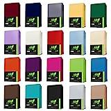 JERSEY Spannbettlaken 100% Baumwolle Spannbetttuch in Farbe: Dunkelgrün; Größe: 90 x 190 cm - 100...