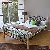 Homestyle4u Metallbett 140 x 200 Bettgestell Doppelbett Bettrahmen + Lattenrost 803 natur