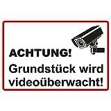 Schild 'Grundstück wird videoüberwacht' Hinweisschild 300x200 mm stabile Aluminiumverbundplatte...