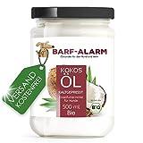 barf-alarm 100% Bio Kokosöl für Hunde 500ml – Kokosnussöl Kokosfett Hund – Bio Qualität–...