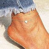 Simsly Beach Heart Fußkettchen Gold oder Silber Perlen Knöchel Armbänder Fußschmuck Für Frauen...
