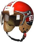 SOXON SP-325-PLUS Red · Mofa Pilot Vespa-Helm Helmet Roller-Helm Scooter-Helm Retro Biker...