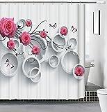 Dokument Tech 3D Blumen Dicker werden Schimmelfest Wasser Proof Duschvorhang mit Haken, Rosa 2,...