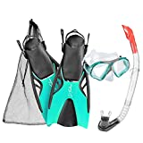 DF-Bahamas Schnochel-Taucherbrille-Schwimmflossen Set, blue-turq., Gr. L