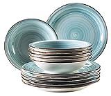 Mäser, Serie Bel Tempo, Teller-Set aus Steingut, 12-teilig für 6 Personen, Tafelservice Vintage,...