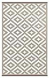 Green Decore Outdoor-Teppich 'Nirvana', wendbar, leicht, Kunststoff, 90x 150 cm, Taupe / Weiß
