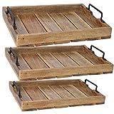 LS-LebenStil Design Holz Tablett Serviertablett Betttisch Betttablett Griff Mangoholz Braun XL...