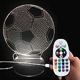DONJON LEDNachtlicht, LED Fußball Lampe mit Wireless-Fernbedienung 16 Farben für Kinder...